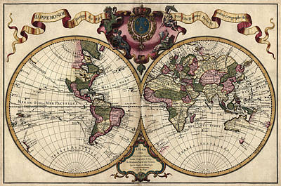 Antique Map Of The World By Guillaume Delisle - 1720 Art Print by Blue Monocle
