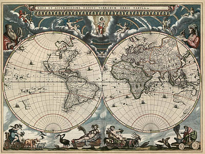 Antique Map Of The World By Joan Blaeu - 1664 Art Print by Blue Monocle