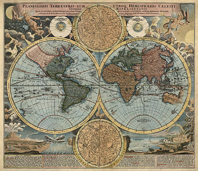 Print Drawing - Antique Map Of The World By Johann Baptist Homann - Circa 1716 by Blue Monocle