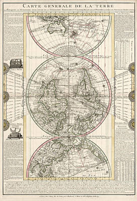 Astronomy Drawing - Antique Map Of The World By M. Flecheux - 1782 by Blue Monocle