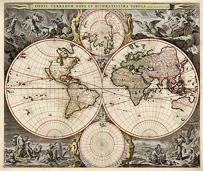 Antique Map Of The World By Nicolaes Visscher - Circa 1690 Art Print by Blue Monocle