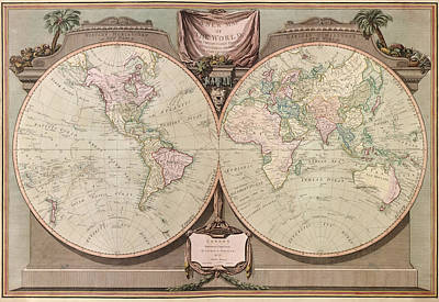 Antique Map Of The World By Robert Laurie And James Whittle - 1808 Art Print by Blue Monocle