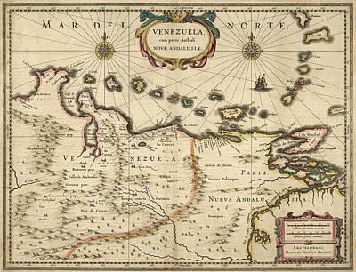 Vintage Map Drawing - Antique Map Of Venezuela By Hendrik Hondius - 1630 by Blue Monocle