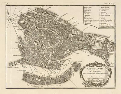 Old Drawing - Antique Map Of Venice Italy By Jacques Nicolas Bellin - 1764 by Blue Monocle