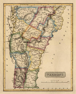 Vermont Map Drawing - Antique Map Of Vermont By Fielding Lucas - Circa 1817 by Blue Monocle
