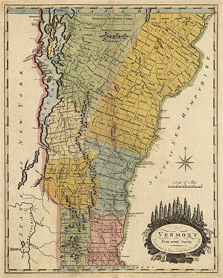 Vermont Map Drawing - Antique Map Of Vermont By Mathew Carey - 1814 by Blue Monocle