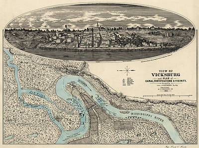Drawing - Antique Map Of Vicksburg Mississippi By L. A. Wrotnowski - 1863 by Blue Monocle