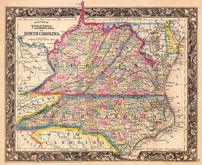 1860 Drawing - Antique Map Of Virginia And North Carolina 1860 by Mountain Dreams