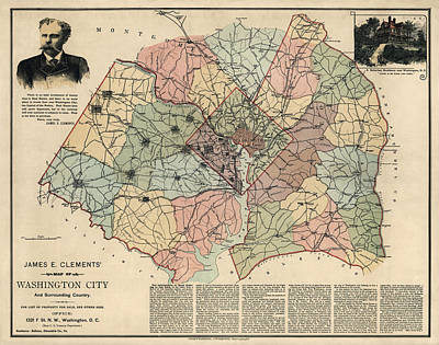 Antique Map Of Washington Dc By Andrew B. Graham - 1891 Art Print
