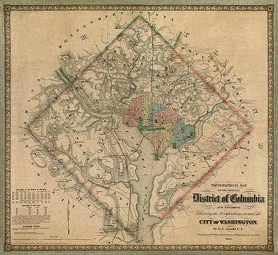 Antique Map Drawing - Antique Map Of Washington Dc By Colton And Co - 1862 by Blue Monocle