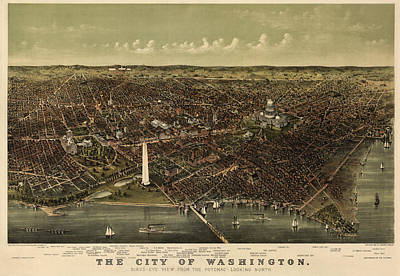 Antique Map Drawing - Antique Map Of Washington Dc By Currier And Ives - Circa 1892 by Blue Monocle