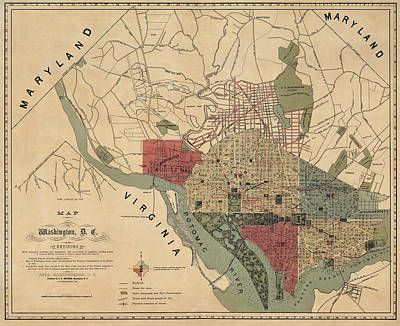 Antique Map Of Washington Dc By R. E. Whitman - 1887 Art Print by Blue Monocle