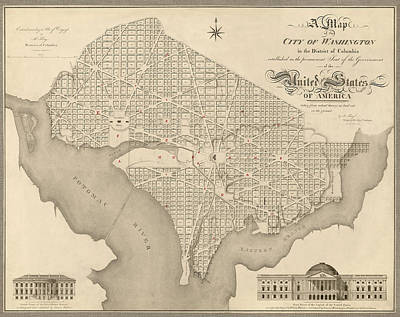 Antique Map Of Washington Dc By Robert King - 1818 Art Print by Blue Monocle