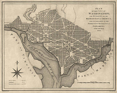 Antique Map Of Washington Dc By William Bent - 1793 Art Print by Blue Monocle