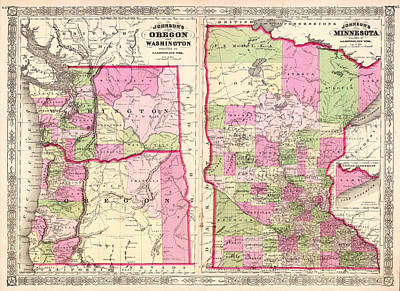 Oregon Drawing - Antique Map Of Washington Oregon And Minnesota 1864 by Mountain Dreams