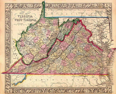 Antique Map Of West Virginia And Virginia 1864 Art Print
