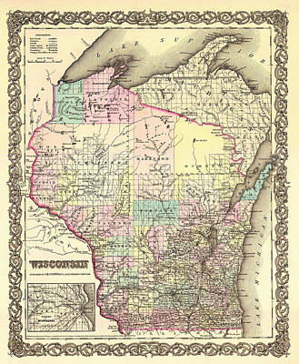 Featured Drawings Drawing - Antique Map Of Wisconsin 1855 by Mountain Dreams