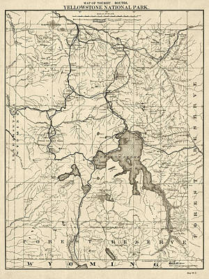 Yellowstone National Park Drawing - Antique Map Of Yellowstone National Park By The U. S. War Department - 1900 by Blue Monocle