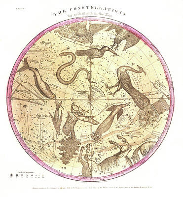 Sphere Painting - Antique Map Showing Star Charts by Vintage Images