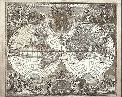 Maps Painting - Antique Maps Of The World by Baltzgar