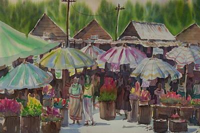 Thai Artist Artists Painting - Antique Market by Kantawan Sukaum