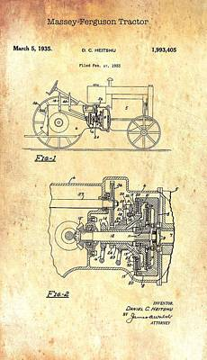 Old Farm Drawing - Antique Massey-ferguson Tractor Patent 1935 by Mountain Dreams
