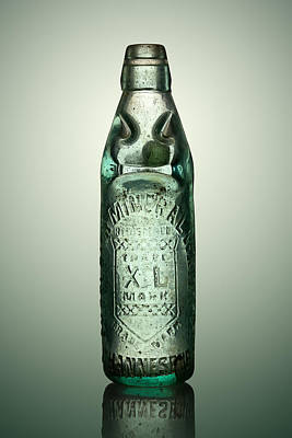 Antique Mineral Glass Bottle Print by Johan Swanepoel