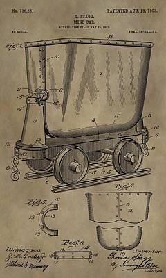 Gold Pan Digital Art - Antique Mining Trolley Patent by Dan Sproul