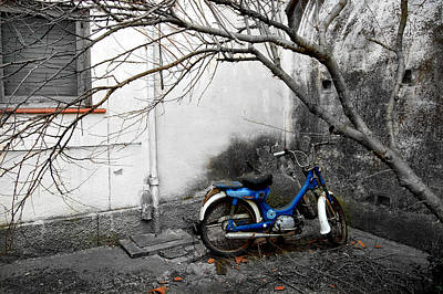 Lonely Photograph - Antique Motorbike by Gina Dsgn