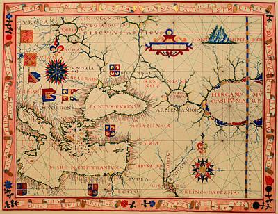 Antique Nautical Chart 1570 Art Print