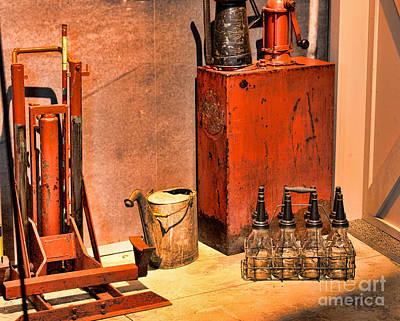 Antique Oil Bottles Print by Paul Ward