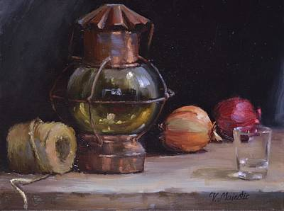 Painting - Antique Old Lantern And Onions by Viktoria K Majestic
