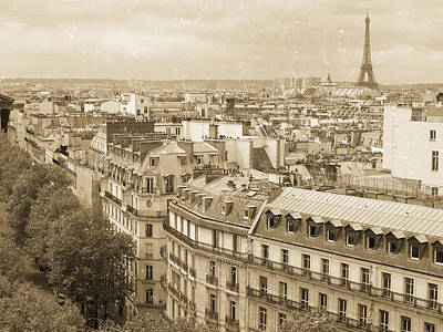 Paris Skyline Royalty-Free and Rights-Managed Images - Antique Paris  by Heidi Hermes