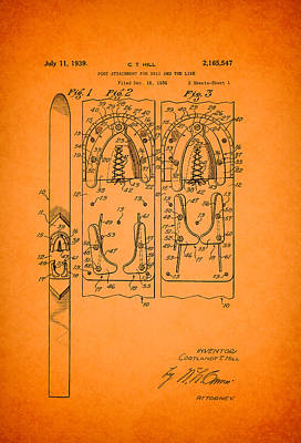 Antique Patent For Ski Foot Attachment 1939 Art Print by Mountain Dreams