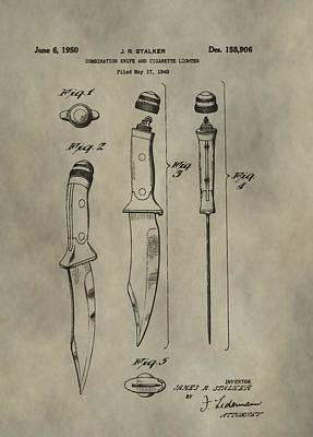 Digital Art - Antique Patent Knife And Lighter by Dan Sproul