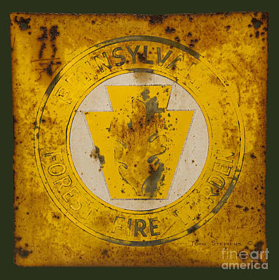 Metal Sheet Photograph - Antique Metal Pennsylvania Forest Fire Warden Sign by John Stephens