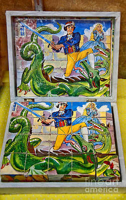 Photograph - Antique Pirate And Dragon Block Puzzle by Valerie Garner