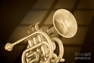 Photograph - Antique Pocket Trumpet by M K Miller