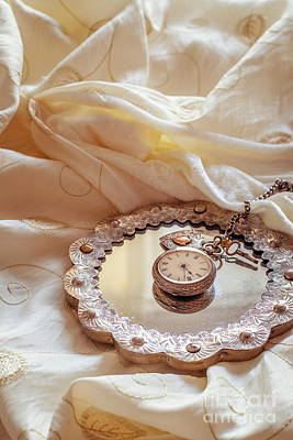 Lace Photograph - Antique Pocket Watch by Amanda Elwell