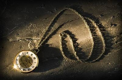 Antique Pocket Watch On Chain Print by Corey Hochachka