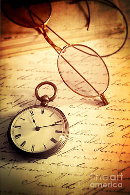 Photograph - Antique Pocket Watch With Glasses On Letter by Sandra Cunningham