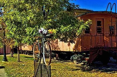 Photograph - Antique Railroad Caboose And Bike Rack by Tim McCullough