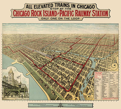 Sears Tower Drawing - Antique Railroad Map Of Chicago - 1897 by Blue Monocle