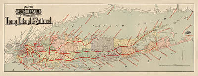 Island Drawing - Antique Railroad Map Of Long Island By The American Bank Note Company - Circa 1895 by Blue Monocle