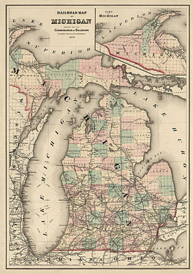 Lake Drawing - Antique Railroad Map Of Michigan By Colton And Co. - 1876 by Blue Monocle