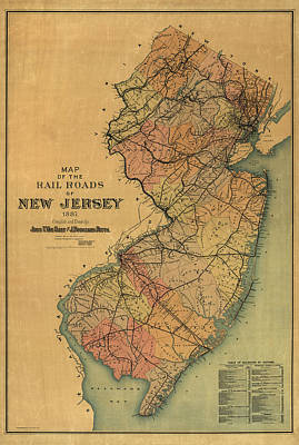 Train Drawing - Antique Railroad Map Of New Jersey By Van Cleef And Betts - 1887 by Blue Monocle