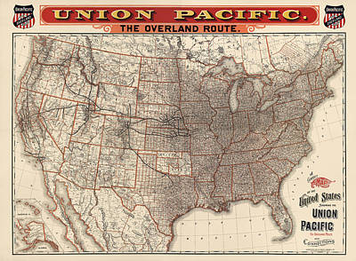 Antique Map Drawing - Antique Railroad Map Of The United States - Union Pacific - 1892 by Blue Monocle