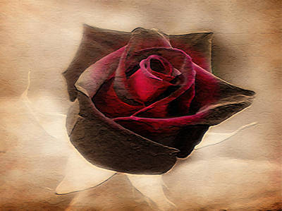 Painting - Antique Red Rose by Dennis Buckman