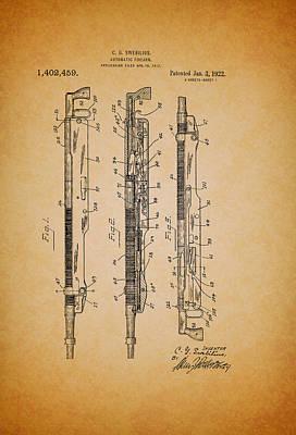 Remington Drawing - Antique Remington Automatic Firearm Patent 1922 by Mountain Dreams