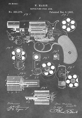Store Digital Art - Antique Revolver Patent by Dan Sproul